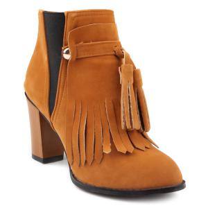 Removable Fringe Chunky Heel Boots - Brown - 37