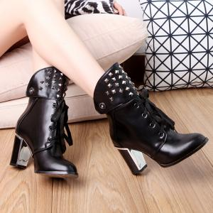 Punk Studded Chunky Heel Boots - BLACK 39