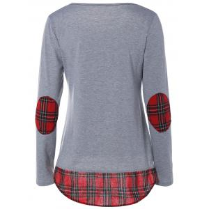 Tartan Elbow Patch T-Shirt - FROST L