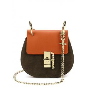 Suede Insert Chains Cross Body Bag