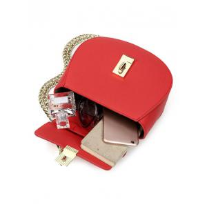 PU Leather Metallic Chains Crossbody Bag - RED