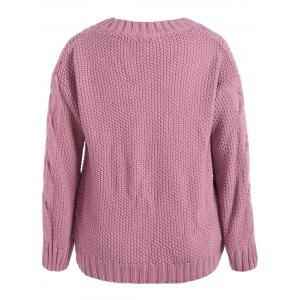 Cable Knit Plus Size Pullover Sweater - PINK 5XL