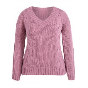 Cable Knit Plus Size Pullover Sweater - Pink - 4xl