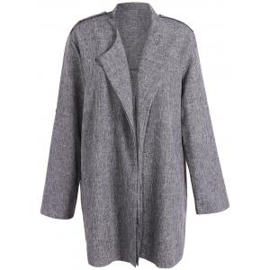 Open Front Plus Size Lapel Coat - Smoky Gray - 3xl