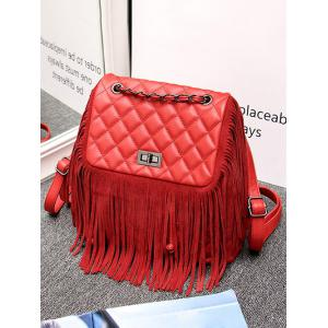 PU Leather Quilted Fringe Backpack -