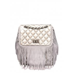 PU Leather Quilted Fringe Backpack - Silver Gray - 37