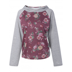 Active Floral Print Patch Design Hoodie