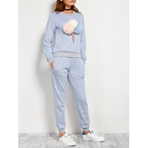 Pompons Pullover Sweatshirt and Running Jogger Pants - Blue Gray - L