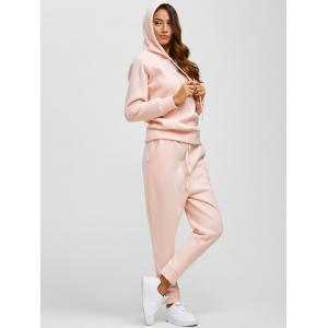 Drawstring Hoodie and Pockets Pants Jogging Suit - Pink - L