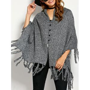 Single Breasted Asymmetric Cape Tassels Cardigan