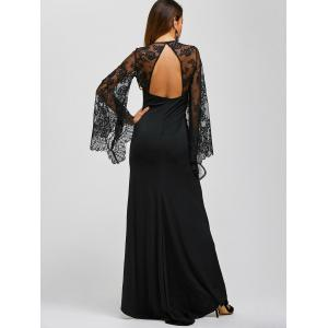 Lace Panel Sheer Long Sleeve Maxi Prom Dress - BLACK XL