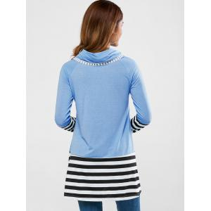 Cowl Neck Striped Loose Tee -