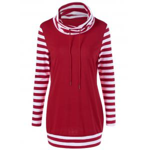 Cowl Neck Drawstring Striped Sleeve Tee - Red And White - M