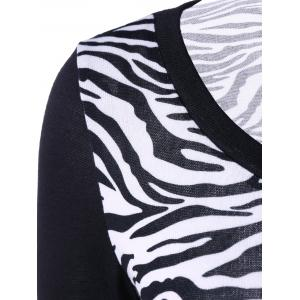 Plus Size Zebra Print Single Breasted Tee -
