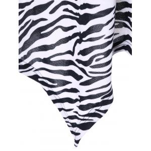 Plus Size Zebra Print Single Breasted Tee - WHITE AND BLACK XL