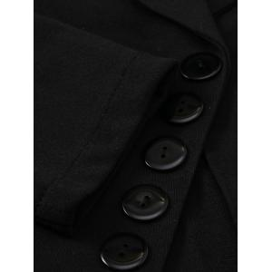 One Button Lapel Asymmetric Jacket Blazer - BLACK S