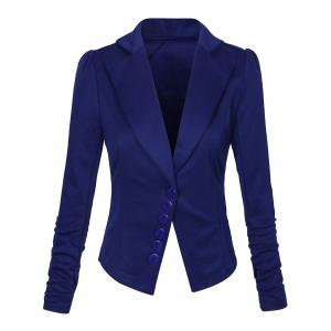 One Button Lapel Asymmetric Jacket Blazer - Deep Blue - M