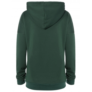 Thicken Drawstring Lengthen Drop Shoulder Hoodie -