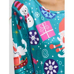 Jewel Neck Father Christmas Cartoon Print Long Sleeve Dress -