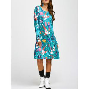 Jewel Neck Father Christmas Cartoon Print Long Sleeve Dress - Blue - One Size