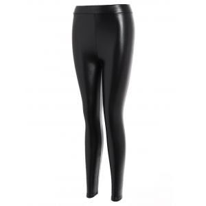 Faux Leather Thicken Leggings - BLACK 3XL