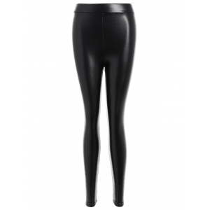 Faux Leather Thicken Leggings - Black - S