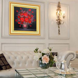 DIY Beads Painting Red Florals Cross Stitch - RED