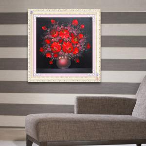 DIY Beads Painting Red Florals Cross Stitch -