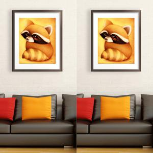 DIY Beads Painting Cartoon Raccoon Animal Cross Stitch - EARTHY