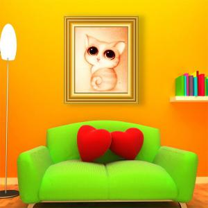 DIY Beads Painting Cartoon Kitten Animal Cross Stitch - Light Yellow