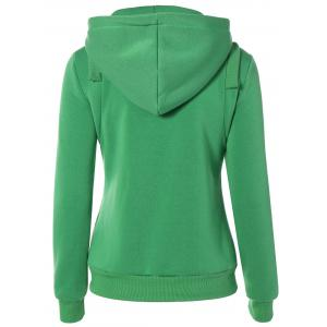 Zip Up Pockets Embellished String Hoodie -