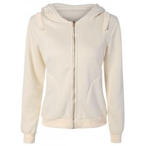 Zip Up Pockets Embellished String Hoodie - Palomino - S