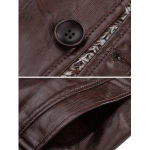 Faux Leather Flocking Single Bresated Jacket - COFFEE 2XL