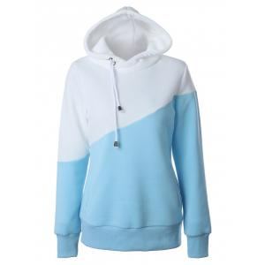 Color Block Casual Hoodie - Blue And White - S