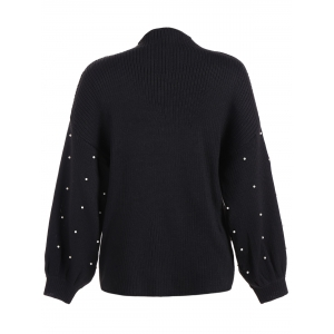 Lantern Sleeve Beading Loose Sweater - BLACK 5XL