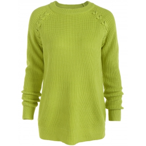 Raglan Sleeve Loose Sweater - Fluorescent Yellow - 5xl