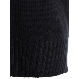 High-Low Slit Sleeveless Sweater Vest - BLACK 4XL