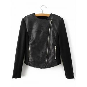 Faux Leather Fleece Lined Motorcycle Jacket -