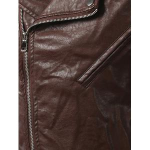 Pocket Side Zip Up Epaulet Design Faux Leather Jacket - BROWN 5XL