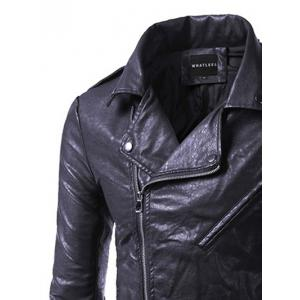 Pocket Side Zip Up Epaulet Design Faux Leather Jacket - BLACK 5XL
