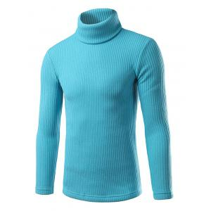 Ribbed Turtleneck Pullover Sweater - Pantone Turquoise - 2xl
