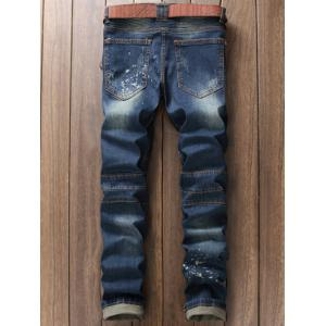 Scratched Zippered Pocket Rivet Paneled Ripped Jeans -