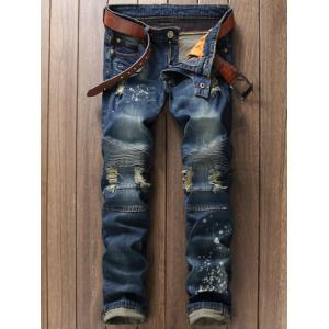 Scratched Zippered Pocket Rivet Paneled Ripped Jeans - Blue - 29