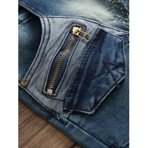 Pocket Zippered Scratched Distressed Jeans - BLUE 38