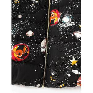 Slim Starry Sky Print Quilted Coat -