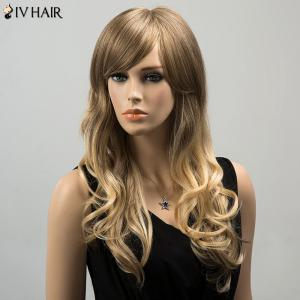 Siv Colormix Long Oblique Bang Wavy Fluffy Human Hair Wig - COLORMIX