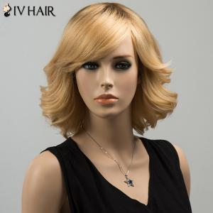 Siv Medium Oblique Bang Tail Upwards Straight Human Hair Wig -