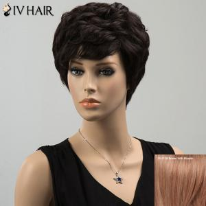 Siv Short Layered Curly Side Bang Human Hair Wig