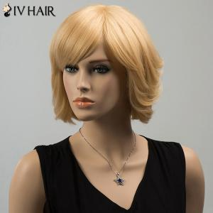 Siv Short Silky Straight Inclined Bang Human Hair Wig - BLONDE