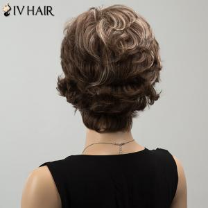 Siv Highlight Short Oblique Bang Wavy Fluffy Human Hair Wig - COLORMIX